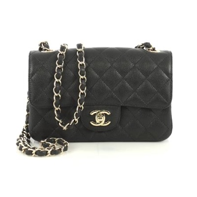 Chanel Classic Single Flap Bag Quilted Caviar Mini