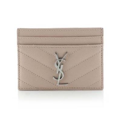 Saint Laurent Classic Monogram Card Holder Matelasse Chevron Leather